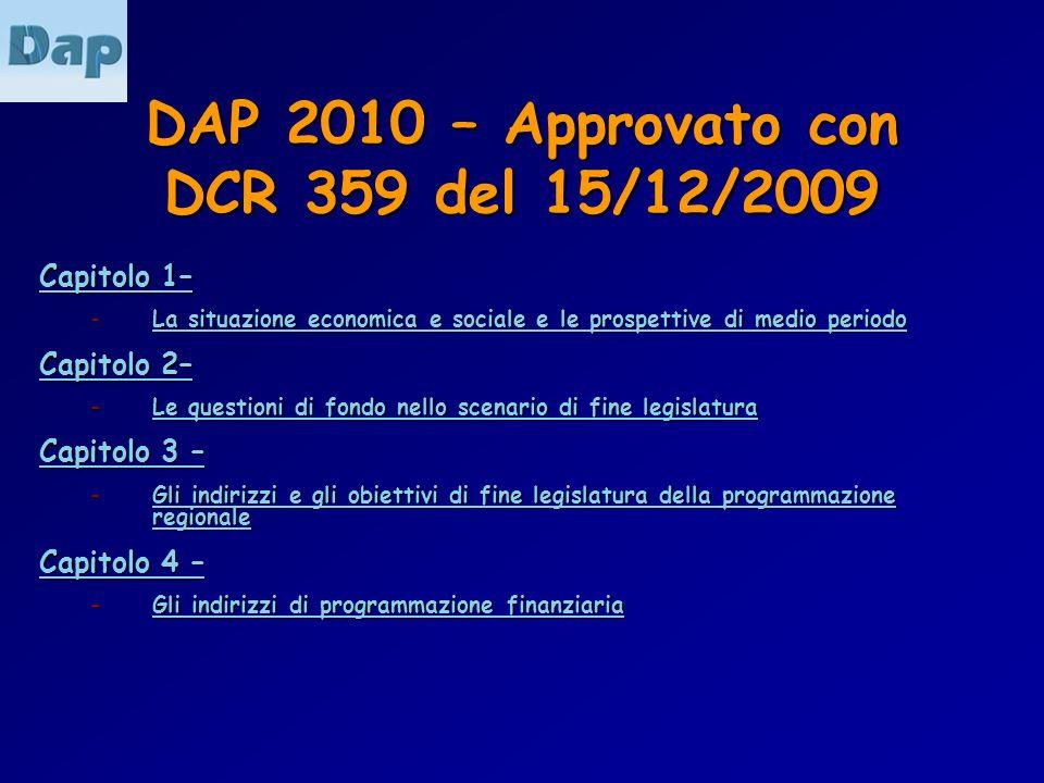 DAP 2010 – Approvato con DCR 359 del 15/12/2009 Capitolo 1– Capitolo 1– – La situazione economica e sociale e le prospettive di medio periodo La situa