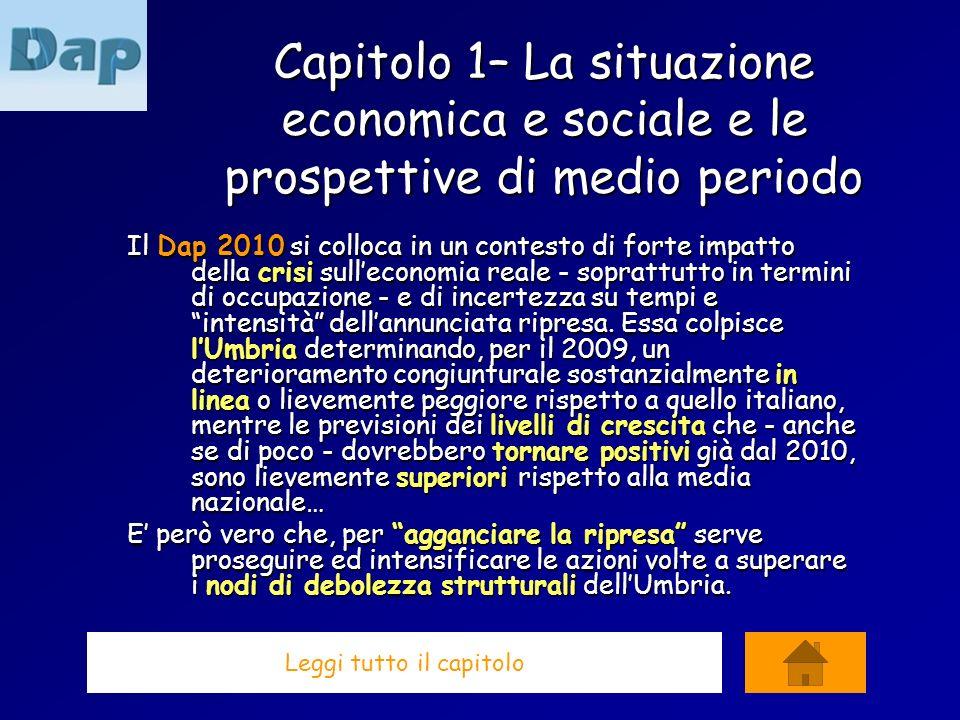 Capitolo 1– La situazione economica e sociale e le prospettive di medio periodo Il Dap 2010 si colloca in un contesto di forte impatto della crisi sulleconomia reale - soprattutto in termini di occupazione - e di incertezza su tempi e intensità dellannunciata ripresa.