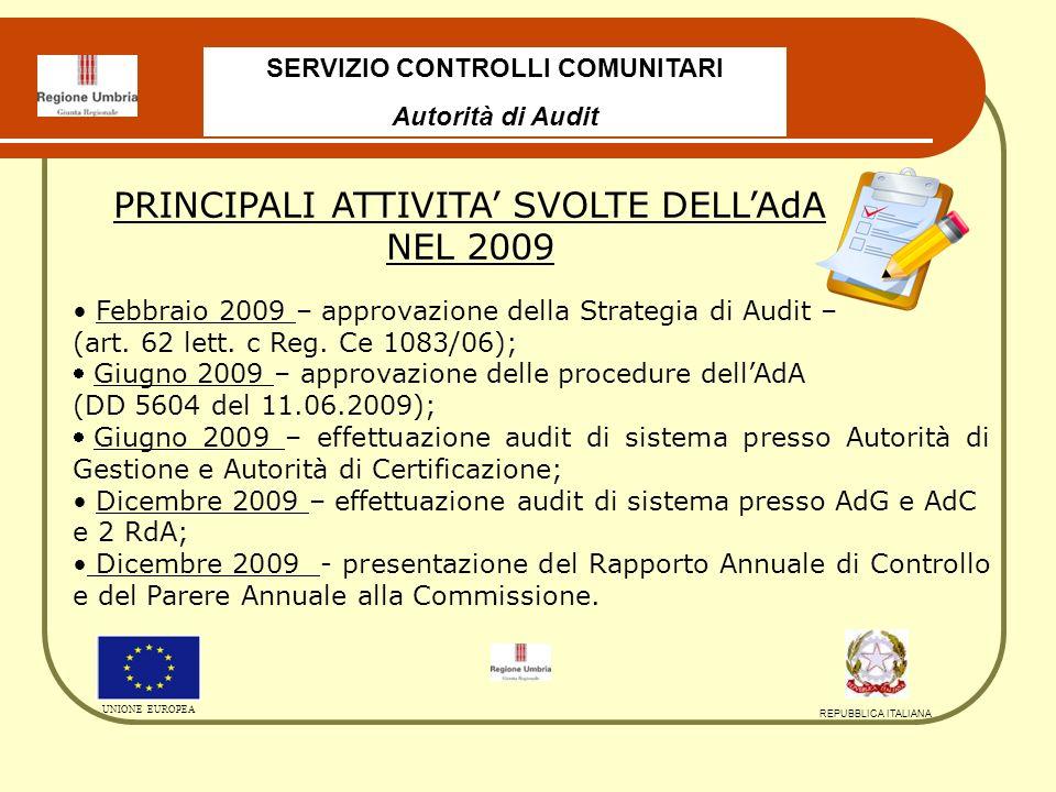 SERVIZIO CONTROLLI COMUNITARI Autorità di Audit UNIONE EUROPEA REPUBBLICA ITALIANA Febbraio 2009 – approvazione della Strategia di Audit – (art.