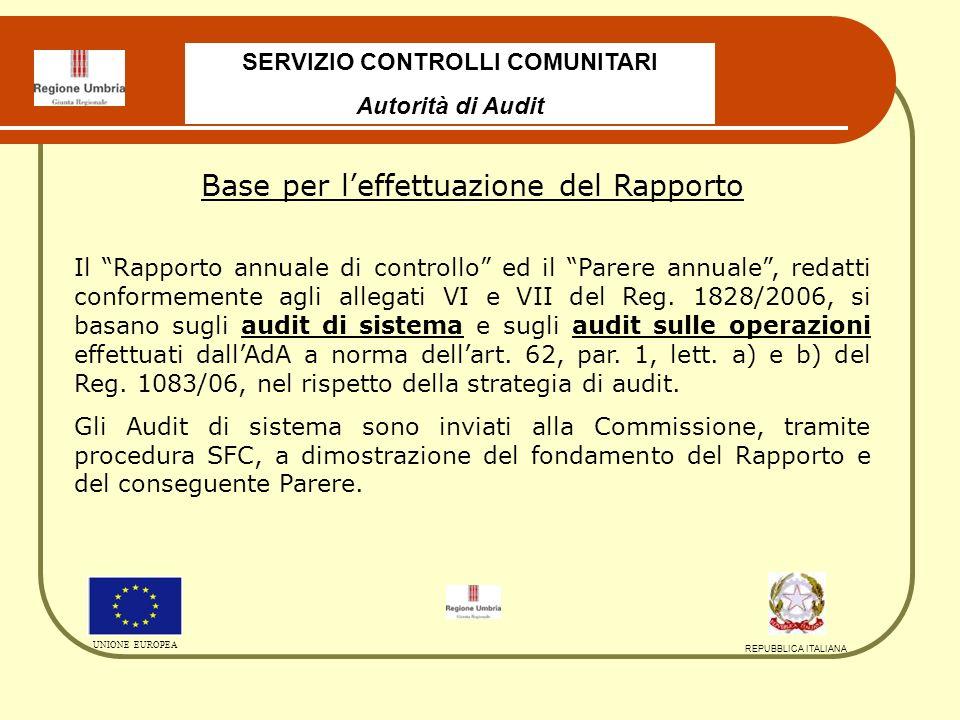 SERVIZIO CONTROLLI COMUNITARI Autorità di Audit UNIONE EUROPEA REPUBBLICA ITALIANA Audit di Sistema Primo semestre 2009: Autorità di Certificazione – Rapporto regolare con raccomandazioni; Autorità di Gestione – Rapporto regolare con raccomandazioni; Secondo semestre 2009: RdA Asse 1 Attività a2 - Rapporto regolare con raccomandazioni ; RdA Asse 1 Attività b1 e c1 - Rapporto regolare con raccomandazioni; AdG e AdC - Sistema Informativo – Rapporto finale Parzialmente regolare con Follow-up e Raccomandazioni.