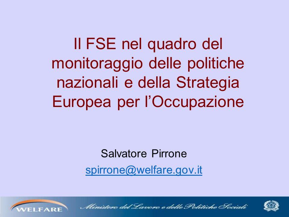 Il FSE nel quadro del monitoraggio delle politiche nazionali e della Strategia Europea per lOccupazione Salvatore Pirrone spirrone@welfare.gov.it
