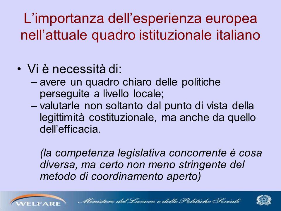 Limportanza dellesperienza europea nellattuale quadro istituzionale italiano Vi è necessità di: –avere un quadro chiaro delle politiche perseguite a livello locale; –valutarle non soltanto dal punto di vista della legittimità costituzionale, ma anche da quello dellefficacia.