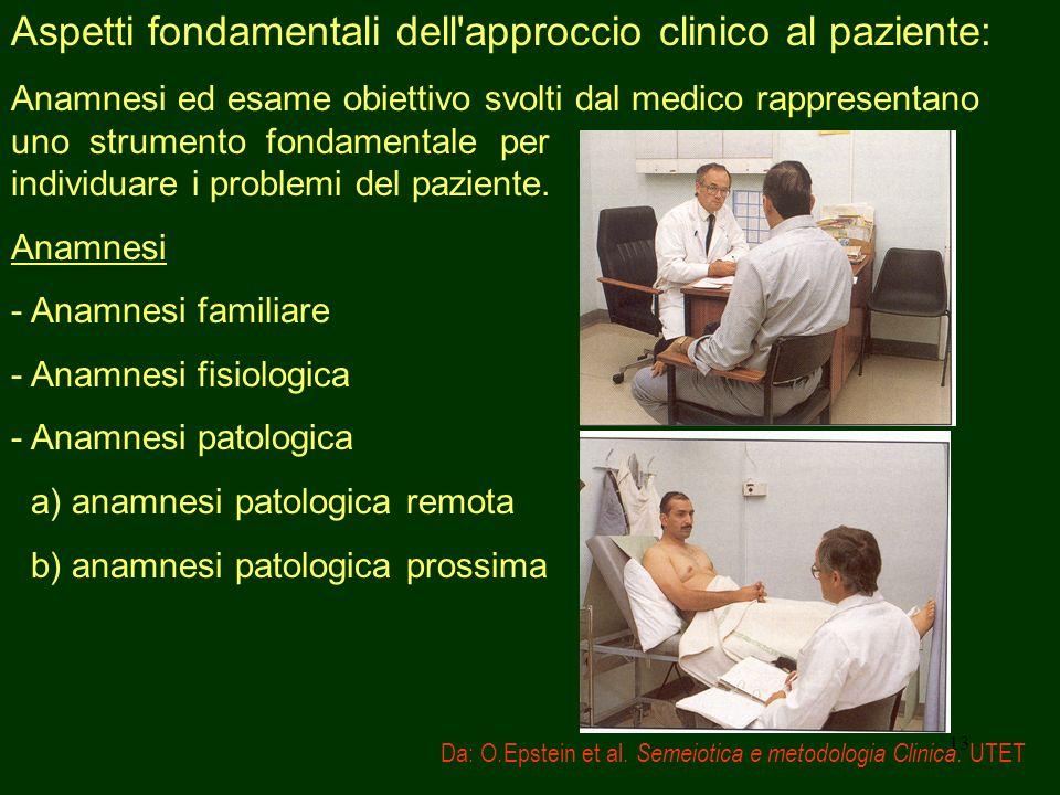 13 Aspetti fondamentali dell'approccio clinico al paziente: Anamnesi ed esame obiettivo svolti dal medico rappresentano uno strumento fondamentale per