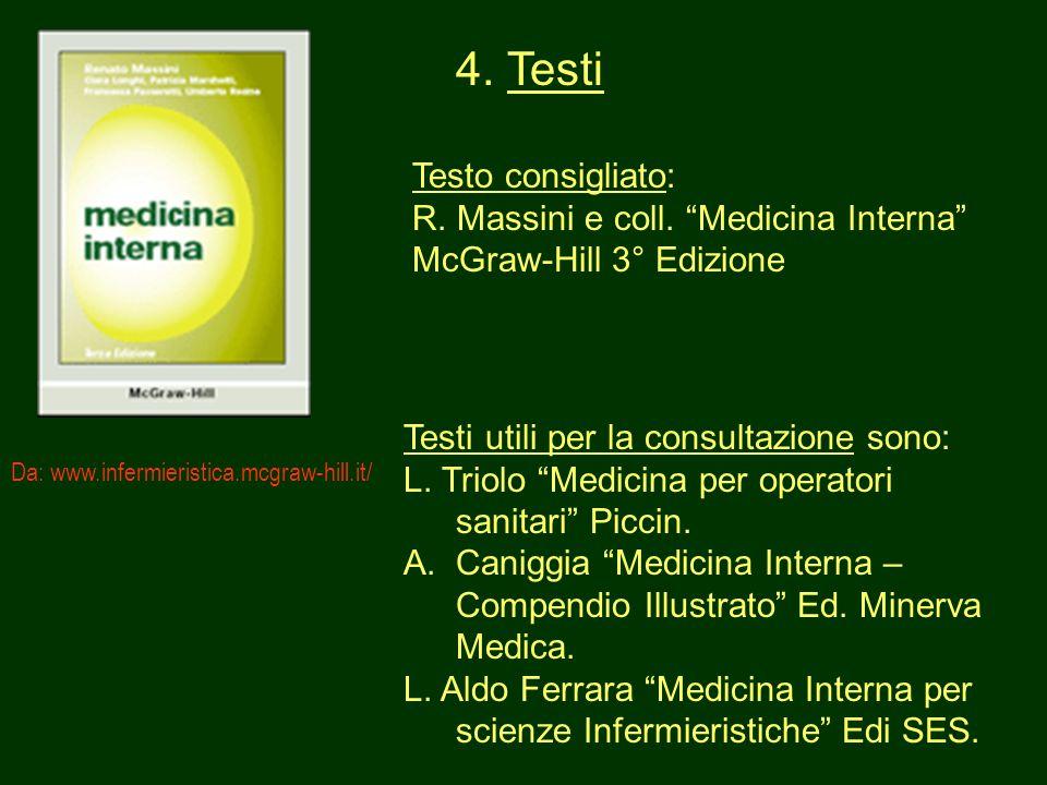 7 4. Testi Testo consigliato: R. Massini e coll. Medicina Interna McGraw-Hill 3° Edizione Testi utili per la consultazione sono: L. Triolo Medicina pe