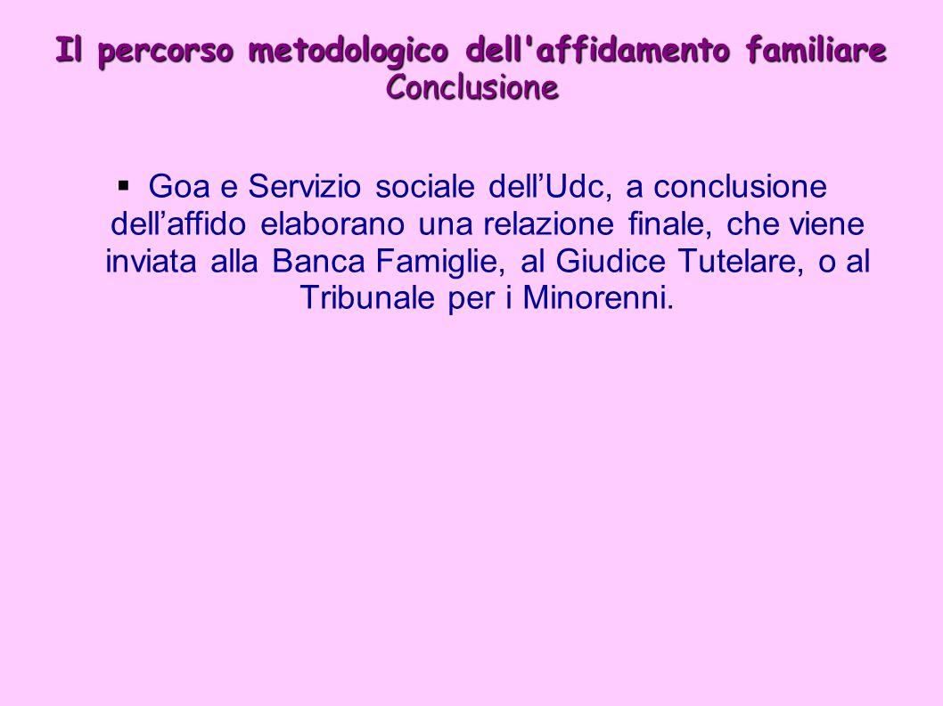 Il percorso metodologico dell affidamento familiare Conclusione Goa e Servizio sociale dellUdc, a conclusione dellaffido elaborano una relazione finale, che viene inviata alla Banca Famiglie, al Giudice Tutelare, o al Tribunale per i Minorenni.