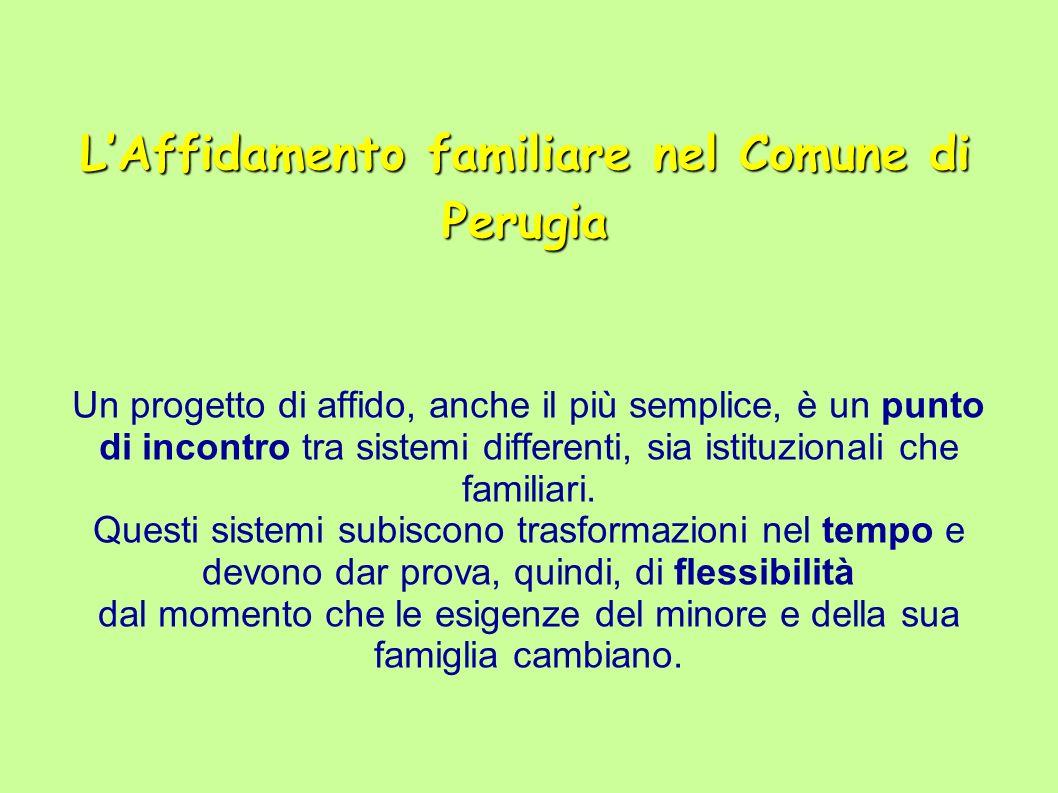 LAffidamento familiare nel Comune di Perugia Un progetto di affido, anche il più semplice, è un punto di incontro tra sistemi differenti, sia istituzionali che familiari.
