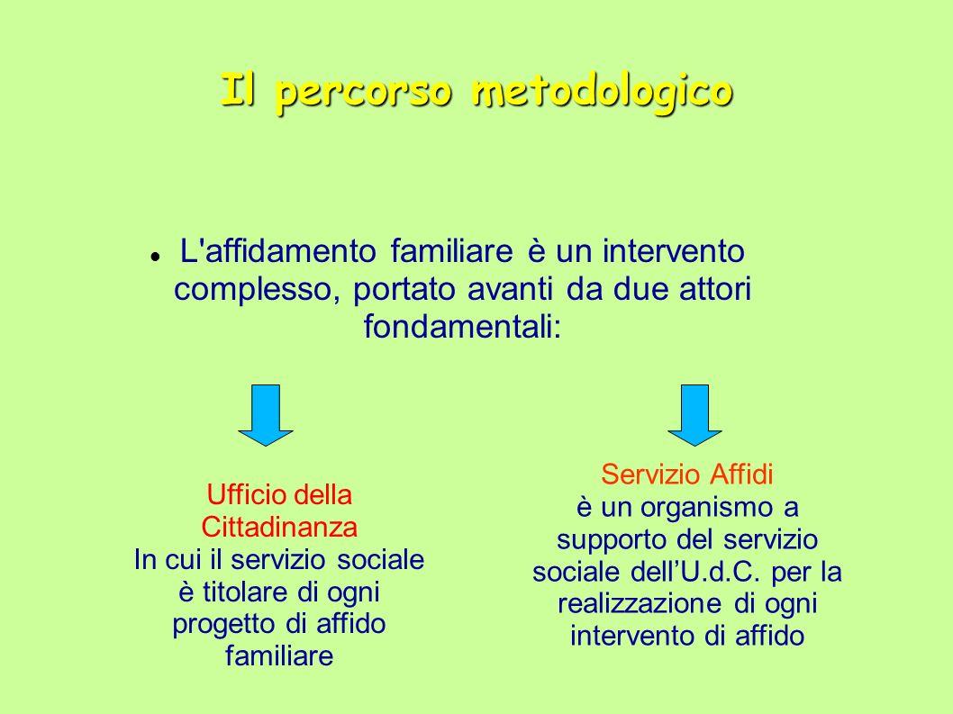 Il percorso metodologico dell affidamento familiare Monitoraggio Il servizio sociale dell udc : 1.