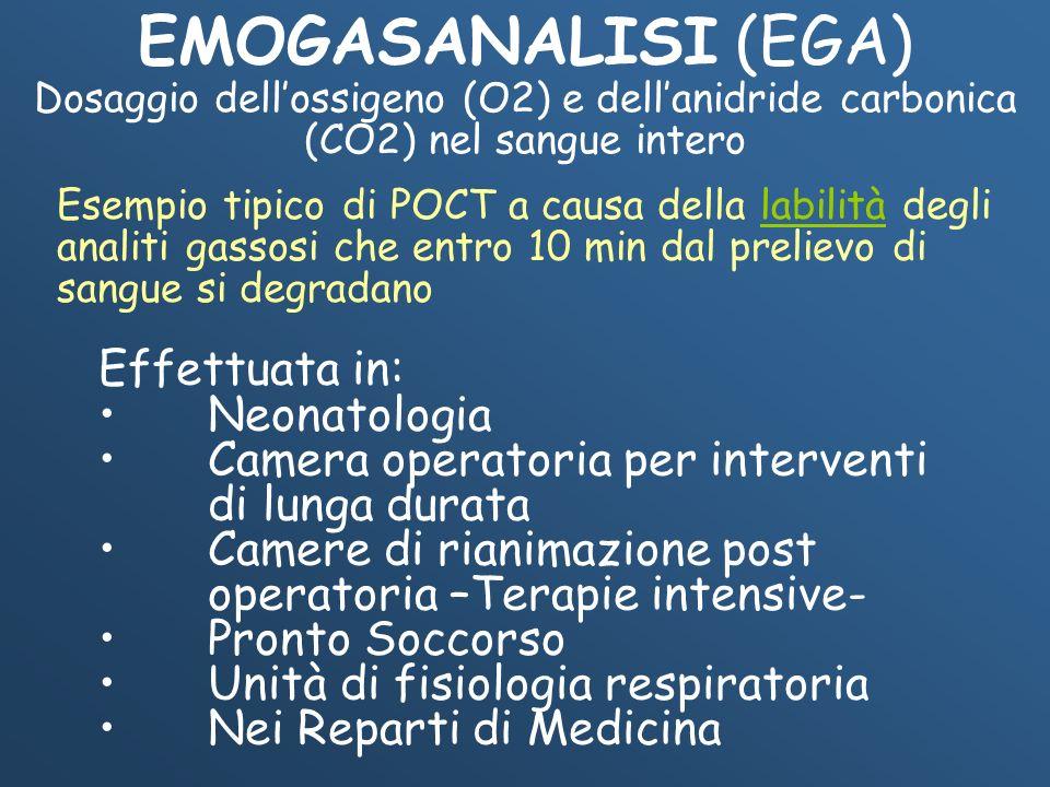 EMOGASANALISI (EGA) Dosaggio dellossigeno (O2) e dellanidride carbonica (CO2) nel sangue intero Effettuata in: Neonatologia Camera operatoria per inte