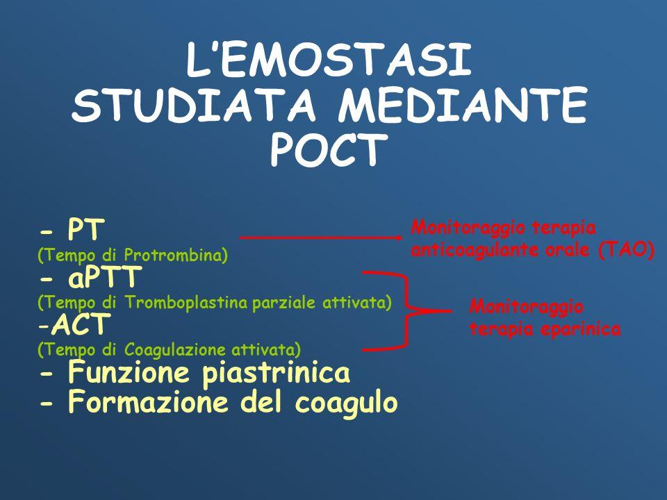 LEMOSTASI STUDIATA MEDIANTE POCT - PT (Tempo di Protrombina) - aPTT (Tempo di Tromboplastina parziale attivata) -ACT (Tempo di Coagulazione attivata)