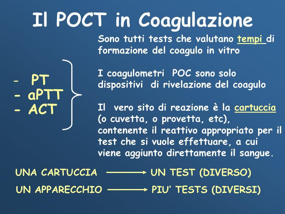 - PT - aPTT - ACT Sono tutti tests che valutano tempi di formazione del coagulo in vitro I coagulometri POC sono solo dispositivi di rivelazione del c