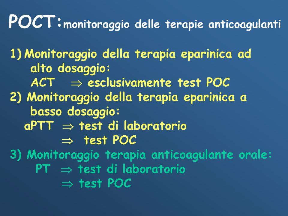 POCT: monitoraggio delle terapie anticoagulanti 1)Monitoraggio della terapia eparinica ad alto dosaggio: ACT esclusivamente test POC 2) Monitoraggio d