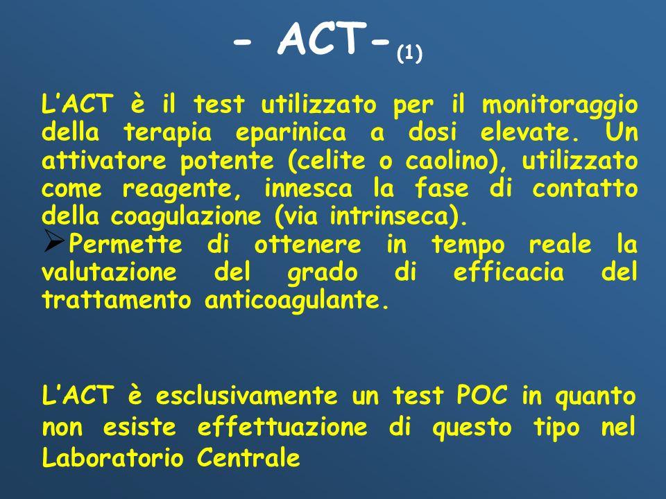 LACT è esclusivamente un test POC in quanto non esiste effettuazione di questo tipo nel Laboratorio Centrale LACT è il test utilizzato per il monitora