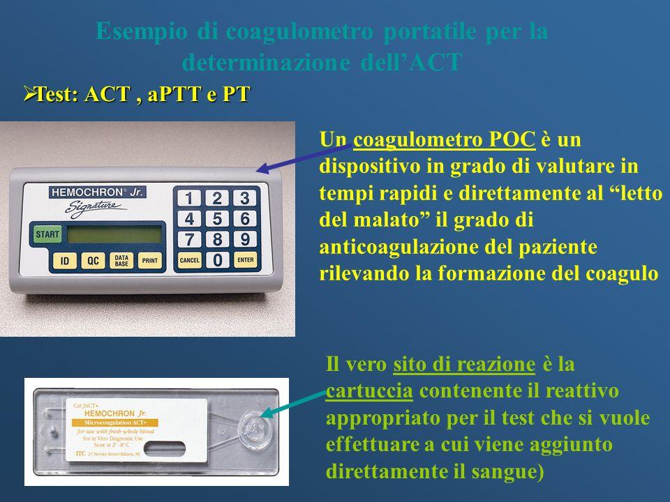 Test: ACT, aPTT e PT Test: ACT, aPTT e PT Esempio di coagulometro portatile per la determinazione dellACT Un coagulometro POC è un dispositivo in grad