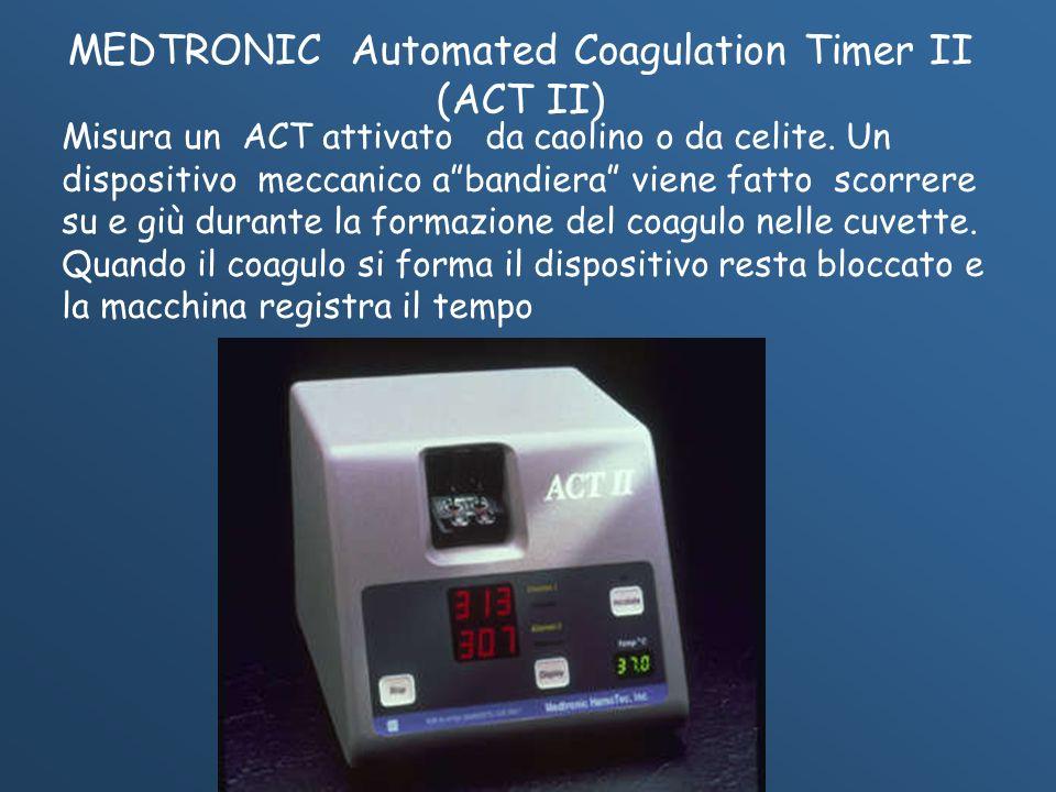 Misura un ACT attivato da caolino o da celite. Un dispositivo meccanico abandiera viene fatto scorrere su e giù durante la formazione del coagulo nell