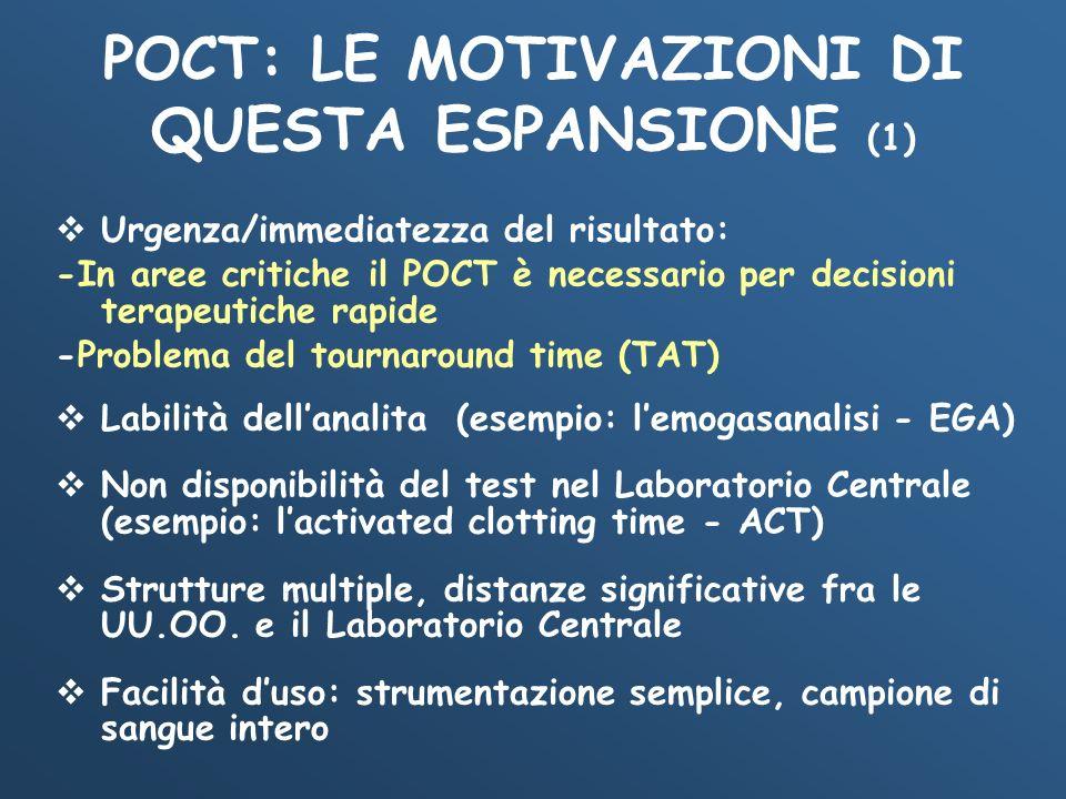 POCT: LE MOTIVAZIONI DI QUESTA ESPANSIONE (1) Urgenza/immediatezza del risultato: -In aree critiche il POCT è necessario per decisioni terapeutiche ra