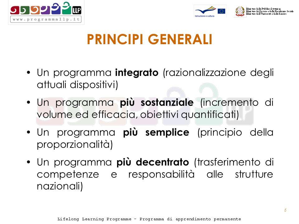 5 PRINCIPI GENERALI Un programma integrato (razionalizzazione degli attuali dispositivi) Un programma più sostanziale (incremento di volume ed efficacia, obiettivi quantificati) Un programma più semplice (principio della proporzionalità) Un programma più decentrato (trasferimento di competenze e responsabilità alle strutture nazionali)