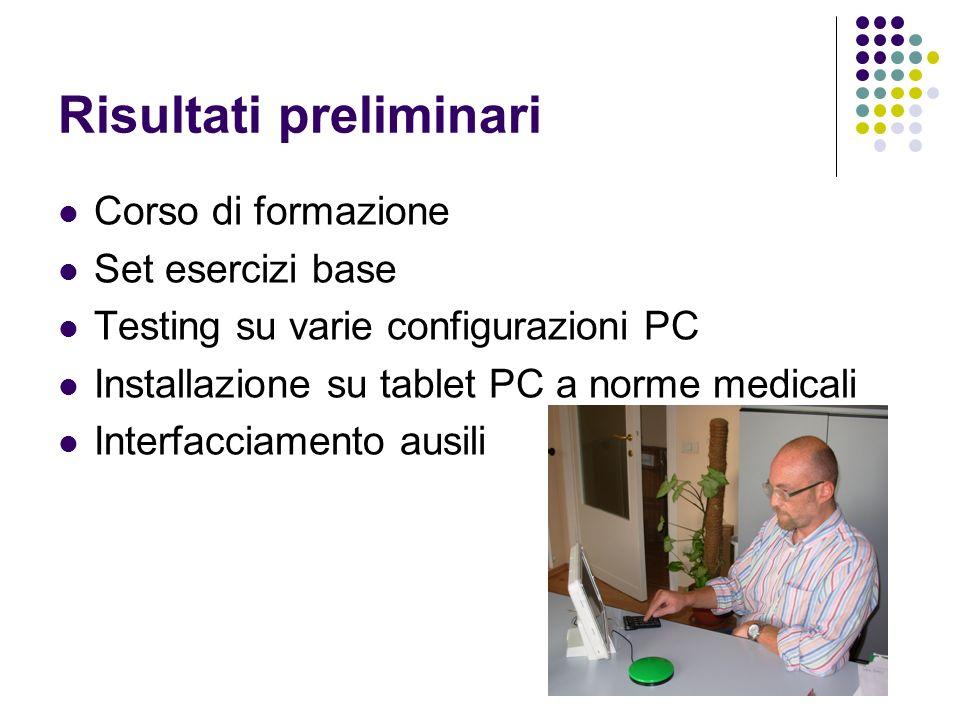 Risultati preliminari Corso di formazione Set esercizi base Testing su varie configurazioni PC Installazione su tablet PC a norme medicali Interfaccia