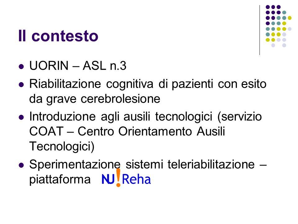 ASL n.3 - Teleriabilitazione Sperimentazione soluzioni per terapia occupazionale Progetto Europeo IST-HCAD Progetto Europeo eTen-Hellodoc