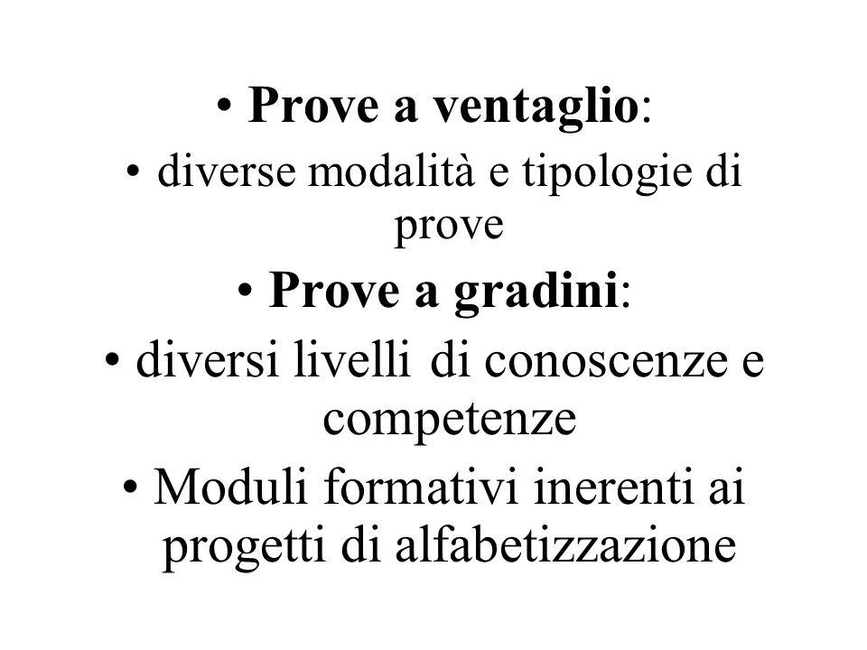 Prove a ventaglio: diverse modalità e tipologie di prove Prove a gradini: diversi livelli di conoscenze e competenze Moduli formativi inerenti ai progetti di alfabetizzazione