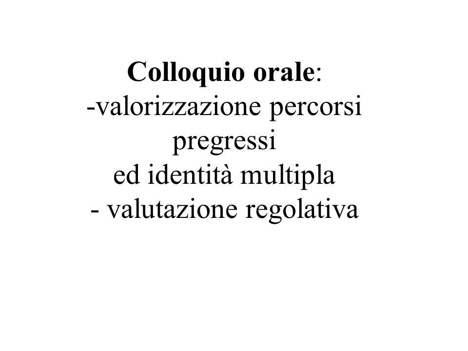 Colloquio orale: -valorizzazione percorsi pregressi ed identità multipla - valutazione regolativa