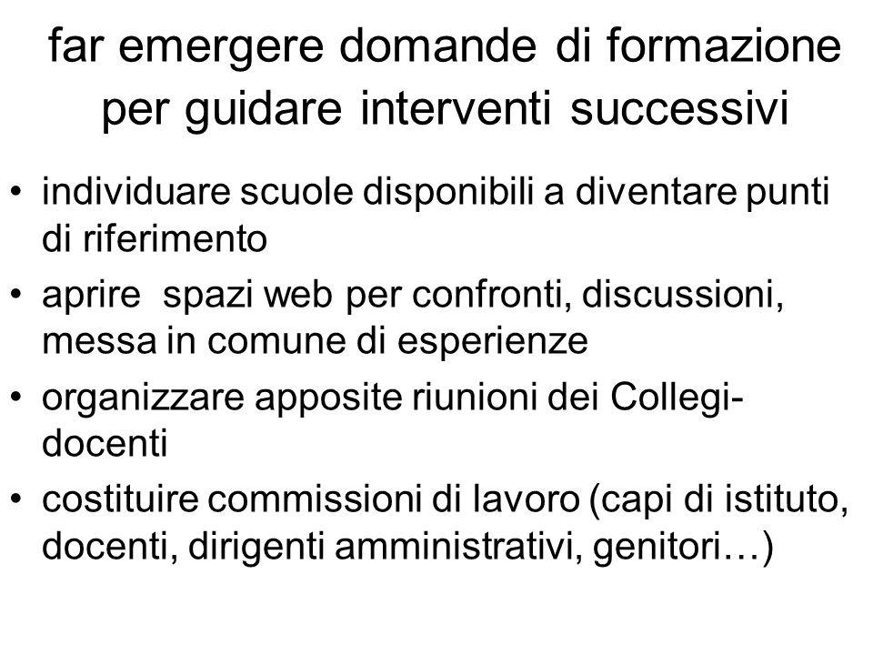 6) quadro di riferimento per costruire il proprio curricolo 7) strumenti per la rilevazione degli apprendimenti 8) individuazione degli standard di competenze 9) momenti di formazione per coordinare le attività