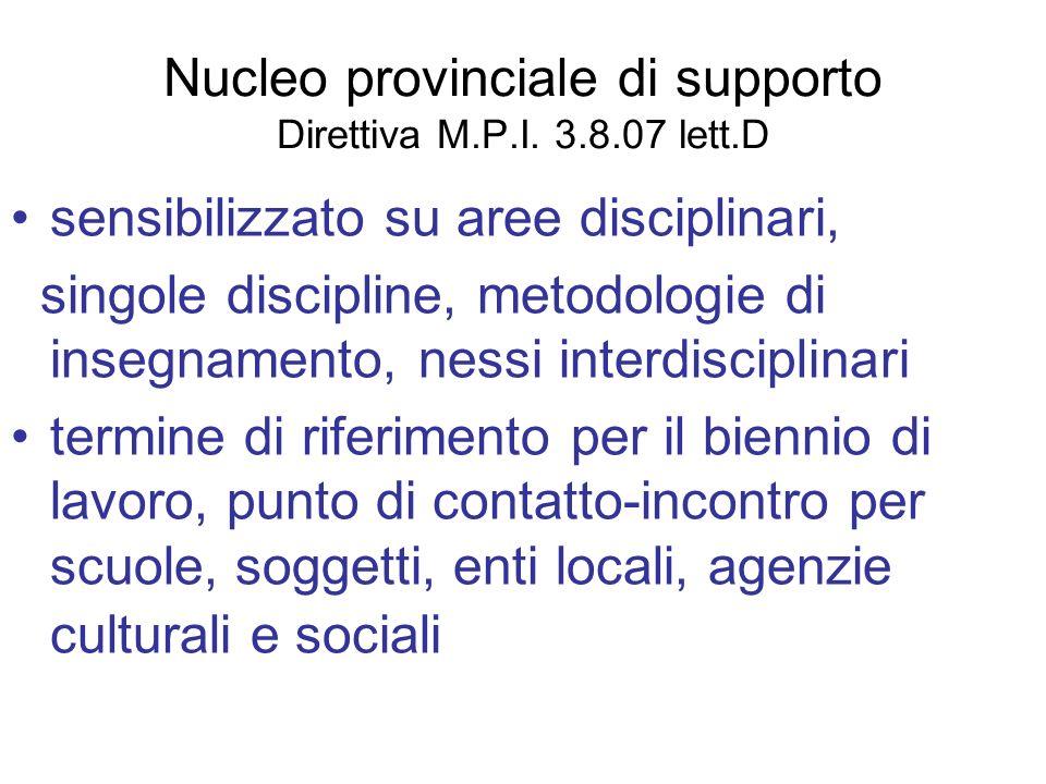 Nucleo provinciale di supporto Direttiva M.P.I. 3.8.07 lett.D sensibilizzato su aree disciplinari, singole discipline, metodologie di insegnamento, ne