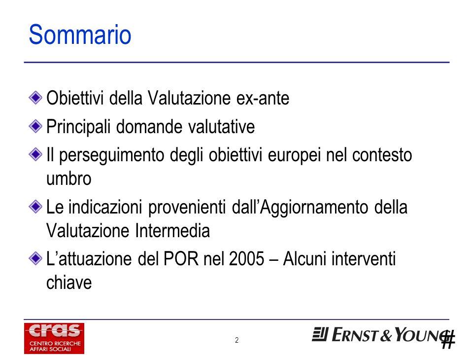 # 2 Sommario Obiettivi della Valutazione ex-ante Principali domande valutative Il perseguimento degli obiettivi europei nel contesto umbro Le indicazioni provenienti dallAggiornamento della Valutazione Intermedia Lattuazione del POR nel 2005 – Alcuni interventi chiave