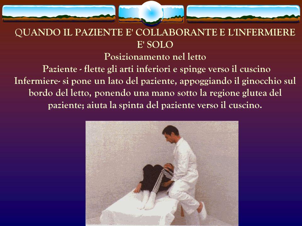 Q UANDO IL PAZIENTE E' COLLABORANTE E L'INFERMIERE E' SOLO Posizionamento nel letto Paziente - flette gli arti inferiori e spinge verso il cuscino Inf