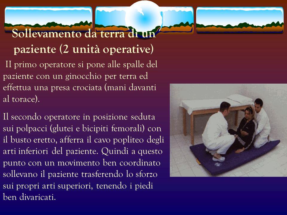 Sollevamento da terra di un paziente (2 unità operative) II primo operatore si pone alle spalle del paziente con un ginocchio per terra ed effettua un