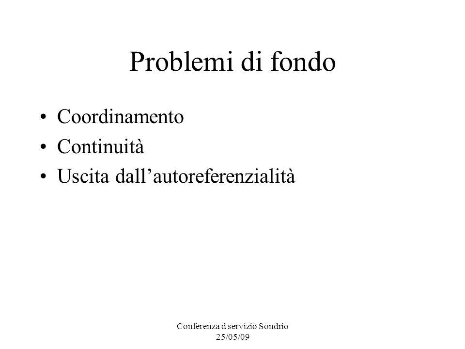 Conferenza d servizio Sondrio 25/05/09 Problemi di fondo Coordinamento Continuità Uscita dallautoreferenzialità