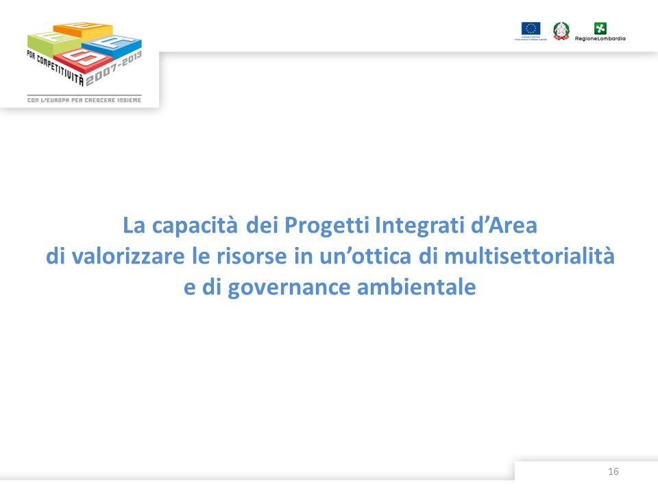 La capacità dei Progetti Integrati dArea di valorizzare le risorse in unottica di multisettorialità e di governance ambientale 16