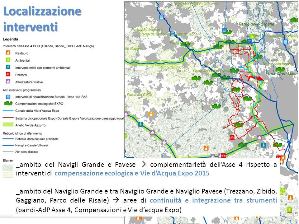 Localizzazione interventi 22 _ambito dei Navigli Grande e Pavese complementarietà dellAsse 4 rispetto a interventi di compensazione ecologica e Vie dA