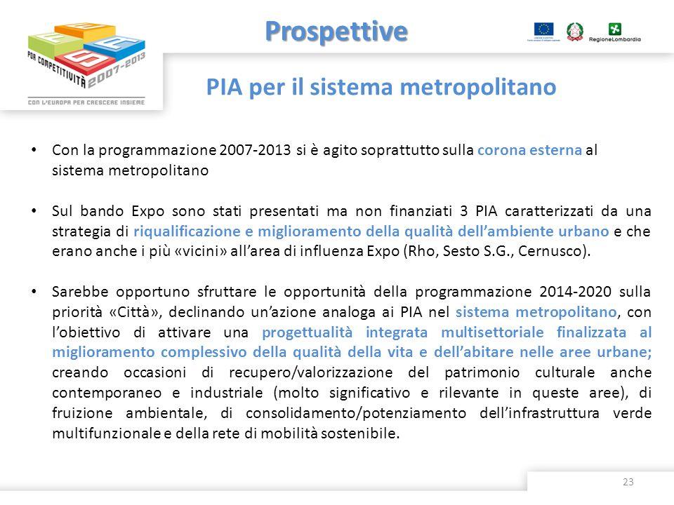 Prospettive Con la programmazione 2007-2013 si è agito soprattutto sulla corona esterna al sistema metropolitano Sul bando Expo sono stati presentati
