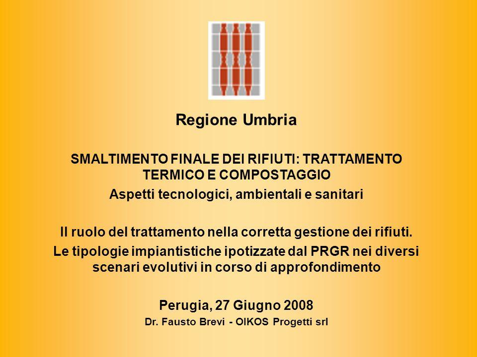 Regione Umbria SMALTIMENTO FINALE DEI RIFIUTI: TRATTAMENTO TERMICO E COMPOSTAGGIO Aspetti tecnologici, ambientali e sanitari Il ruolo del trattamento nella corretta gestione dei rifiuti.