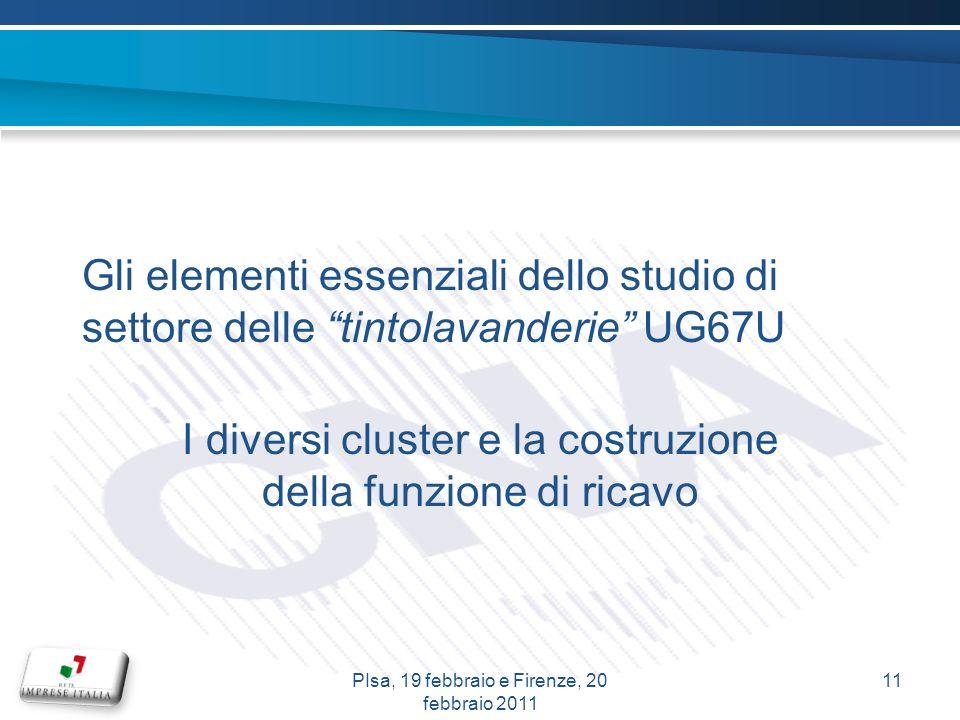 Gli elementi essenziali dello studio di settore delle tintolavanderie UG67U I diversi cluster e la costruzione della funzione di ricavo 11PIsa, 19 febbraio e Firenze, 20 febbraio 2011