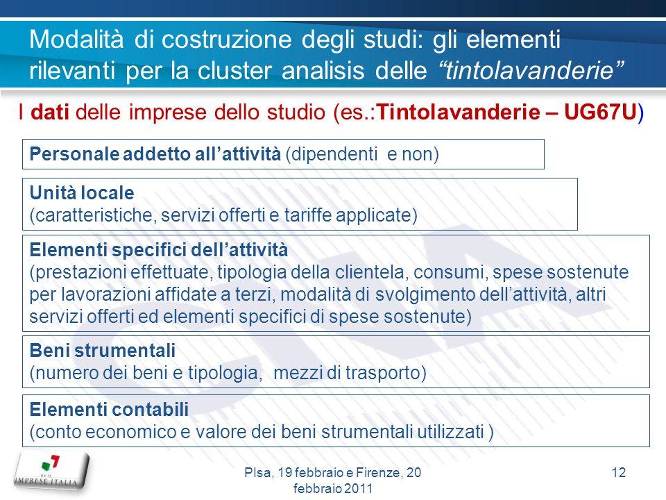 I dati delle imprese dello studio (es.:Tintolavanderie – UG67U) Personale addetto allattività (dipendenti e non) Unità locale (caratteristiche, serviz