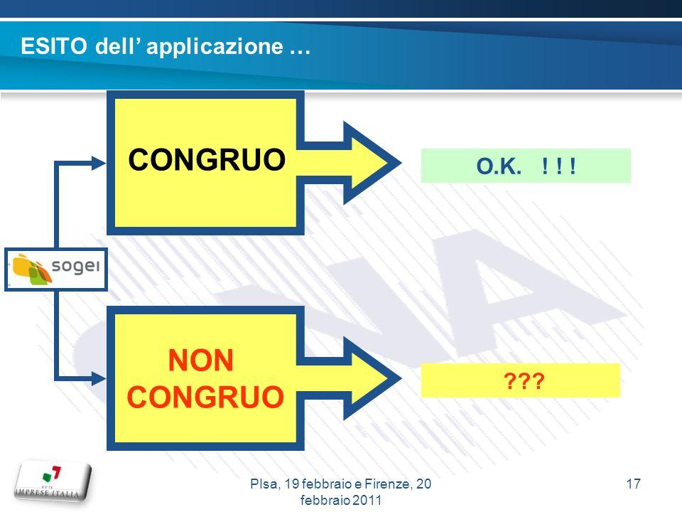 ESITO dell applicazione … CONGRUO NON CONGRUO . O.K.