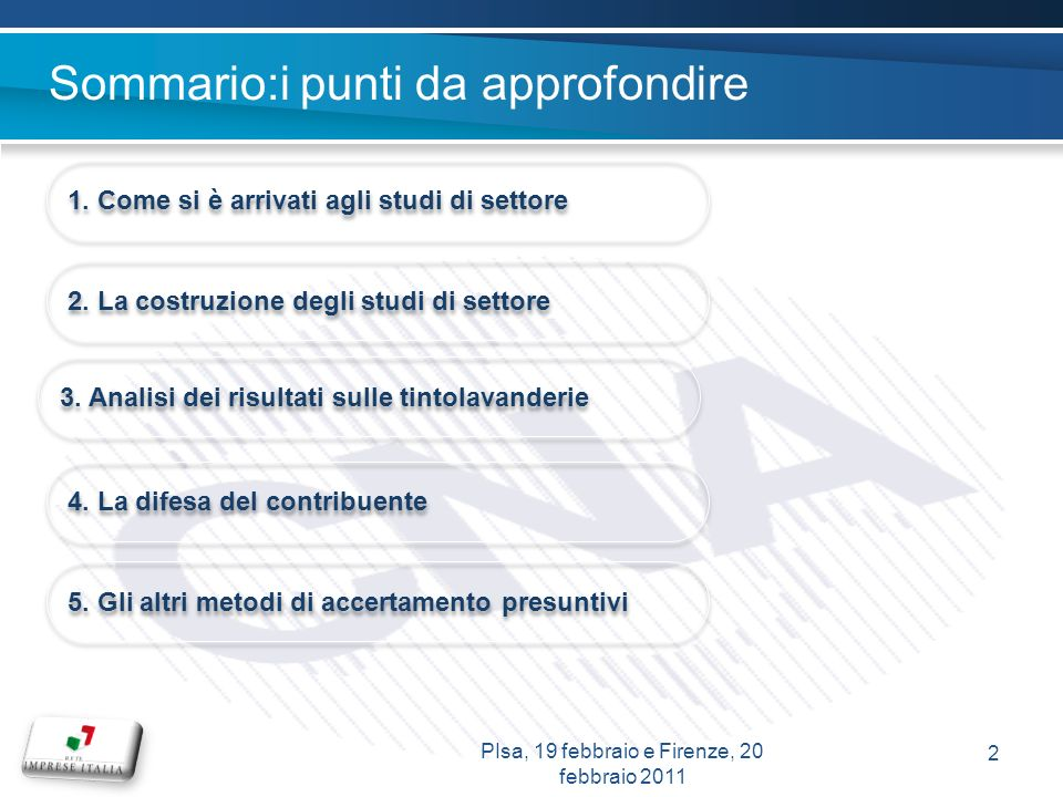 PIsa, 19 febbraio e Firenze, 20 febbraio 2011 2 Sommario:i punti da approfondire 1. Come si è arrivati agli studi di settore 2. La costruzione degli s