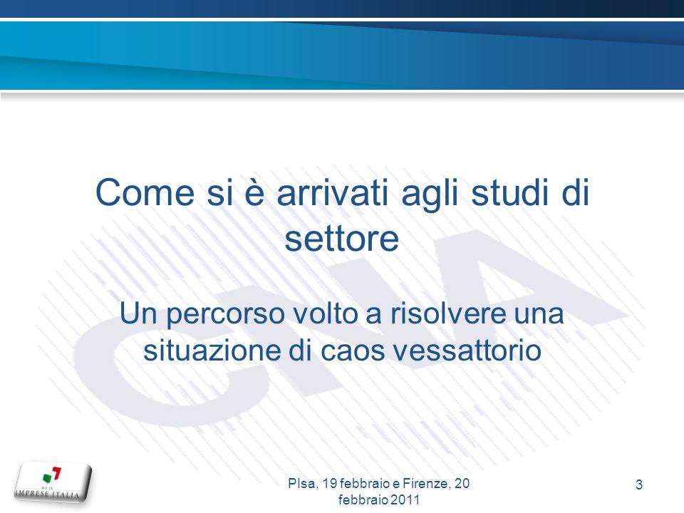 Come si è arrivati agli studi di settore Un percorso volto a risolvere una situazione di caos vessattorio 3 PIsa, 19 febbraio e Firenze, 20 febbraio 2