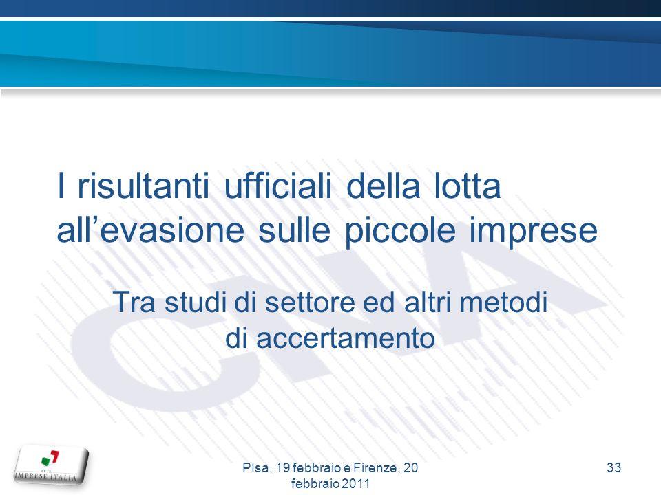 I risultanti ufficiali della lotta allevasione sulle piccole imprese Tra studi di settore ed altri metodi di accertamento 33PIsa, 19 febbraio e Firenze, 20 febbraio 2011