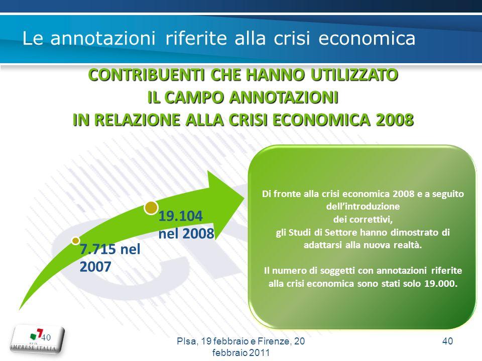 40 7.715 nel 2007 19.104 nel 2008 CONTRIBUENTI CHE HANNO UTILIZZATO IL CAMPO ANNOTAZIONI IN RELAZIONE ALLA CRISI ECONOMICA 2008 Di fronte alla crisi economica 2008 e a seguito dellintroduzione dei correttivi, gli Studi di Settore hanno dimostrato di adattarsi alla nuova realtà.