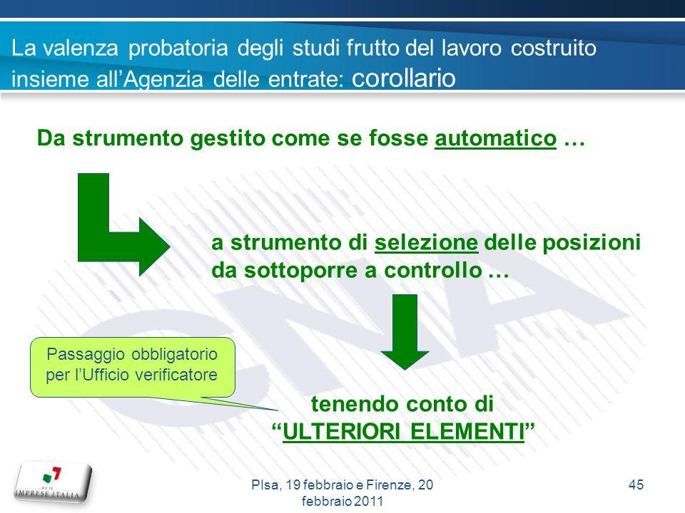 La valenza probatoria degli studi frutto del lavoro costruito insieme allAgenzia delle entrate: corollario Da strumento gestito come se fosse automati