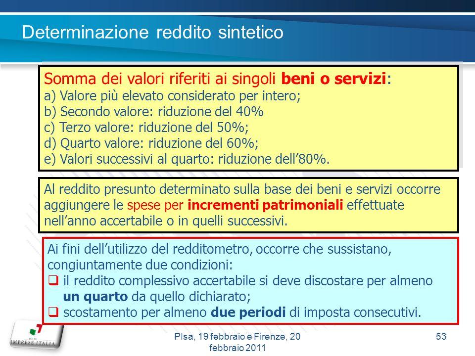 Determinazione reddito sintetico Somma dei valori riferiti ai singoli beni o servizi: a) Valore più elevato considerato per intero; b) Secondo valore: riduzione del 40% c) Terzo valore: riduzione del 50%; d) Quarto valore: riduzione del 60%; e) Valori successivi al quarto: riduzione dell80%.