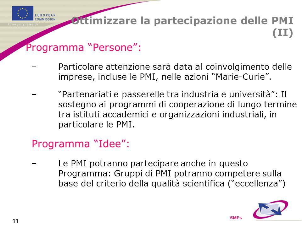 SMEs 11 Programma Persone: –Particolare attenzione sarà data al coinvolgimento delle imprese, incluse le PMI, nelle azioni Marie-Curie.