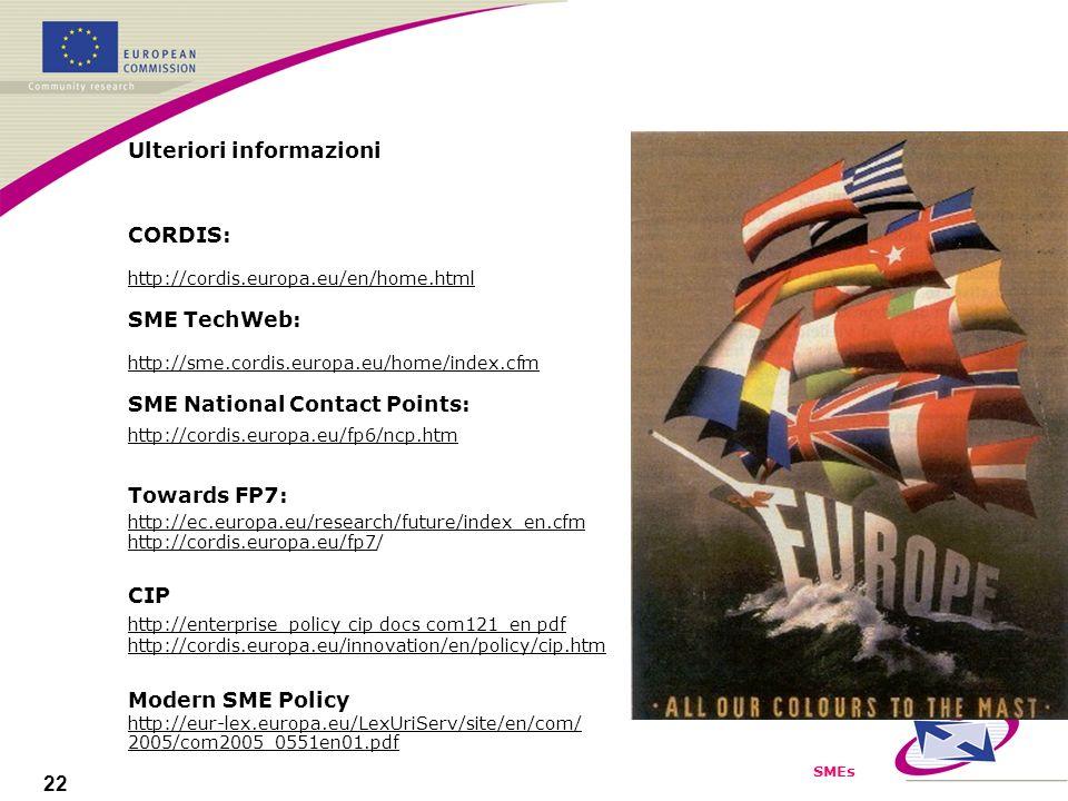 SMEs 22 Ulteriori informazioni CORDIS: http://cordis.europa.eu/en/home.html SME TechWeb: http://sme.cordis.europa.eu/home/index.cfm SME National Contact Points: http://cordis.europa.eu/fp6/ncp.htm Towards FP7: http://ec.europa.eu/research/future/index_en.cfm http://cordis.europa.eu/fp7/ CIP http://enterprise_policy cip docs com121_en pdf http://cordis.europa.eu/innovation/en/policy/cip.htm Modern SME Policy http://eur-lex.europa.eu/LexUriServ/site/en/com/ 2005/com2005_0551en01.pdf