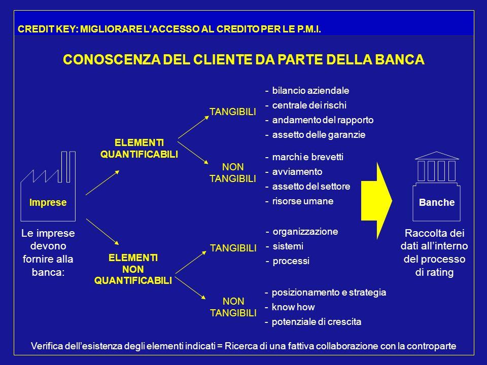 Imprese Le imprese devono fornire alla banca: ELEMENTI QUANTIFICABILI ELEMENTI NON QUANTIFICABILI TANGIBILI NON TANGIBILI - bilancio aziendale - centrale dei rischi - andamento del rapporto - assetto delle garanzie - marchi e brevetti - avviamento - assetto del settore - risorse umane TANGIBILI NON TANGIBILI - organizzazione - sistemi - processi - posizionamento e strategia - know how - potenziale di crescita Banche Raccolta dei dati allinterno del processo di rating Verifica dellesistenza degli elementi indicati = Ricerca di una fattiva collaborazione con la controparte CONOSCENZA DEL CLIENTE DA PARTE DELLA BANCA CREDIT KEY: MIGLIORARE LACCESSO AL CREDITO PER LE P.M.I.