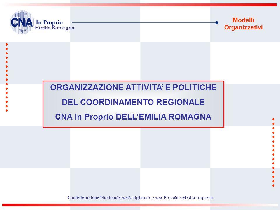Modelli Organizzativi ORGANIZZAZIONE ATTIVITA E POLITICHE DEL COORDINAMENTO REGIONALE CNA In Proprio DELLEMILIA ROMAGNA Confederazione Nazionale dell Artigianato e della Piccola e Media Impresa Emilia Romagna