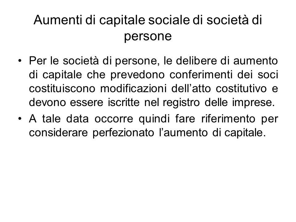 Aumenti di capitale sociale di società di persone Per le società di persone, le delibere di aumento di capitale che prevedono conferimenti dei soci costituiscono modificazioni dellatto costitutivo e devono essere iscritte nel registro delle imprese.