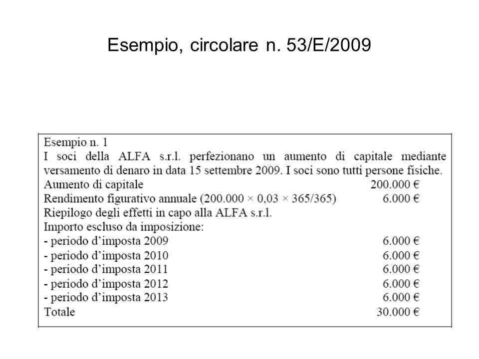 Esempio, circolare n. 53/E/2009