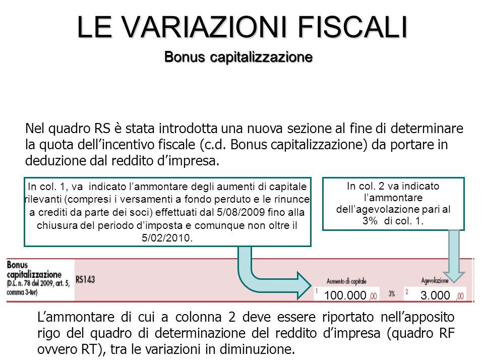 Lammontare di cui a colonna 2 deve essere riportato nellapposito rigo del quadro di determinazione del reddito dimpresa (quadro RF ovvero RT), tra le variazioni in diminuzione.